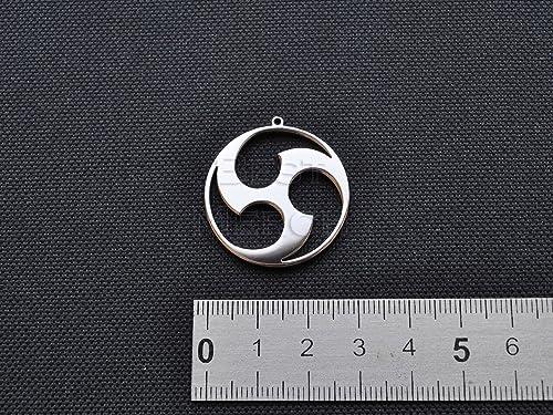 Triple Tomoe Necklace Magatama Stainless Steel Jewelry Mitsu Tomoe