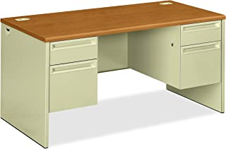 product image for HON Double Pedestal Desk, 60 by 30 by 29-1/2-Inch, Harvest/Putty