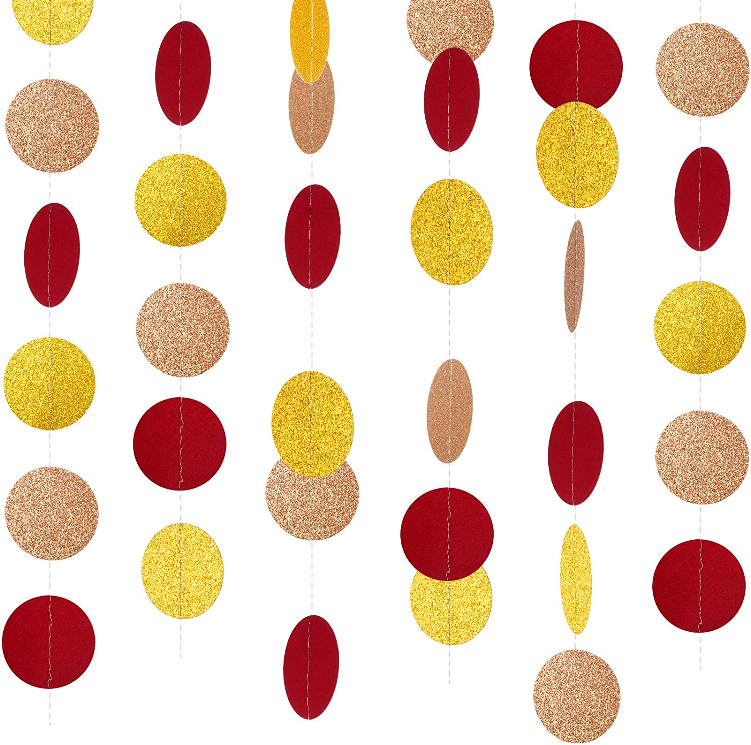 10 Pack Paper Garlands Glitter Circle Dots Hanging Party Garland Paper Banner Decor for Winter Christmas New Year Wedding Birthday Party Valentine's Decor, 131 Feet Totally (Gold, Burgundy, Champagne)