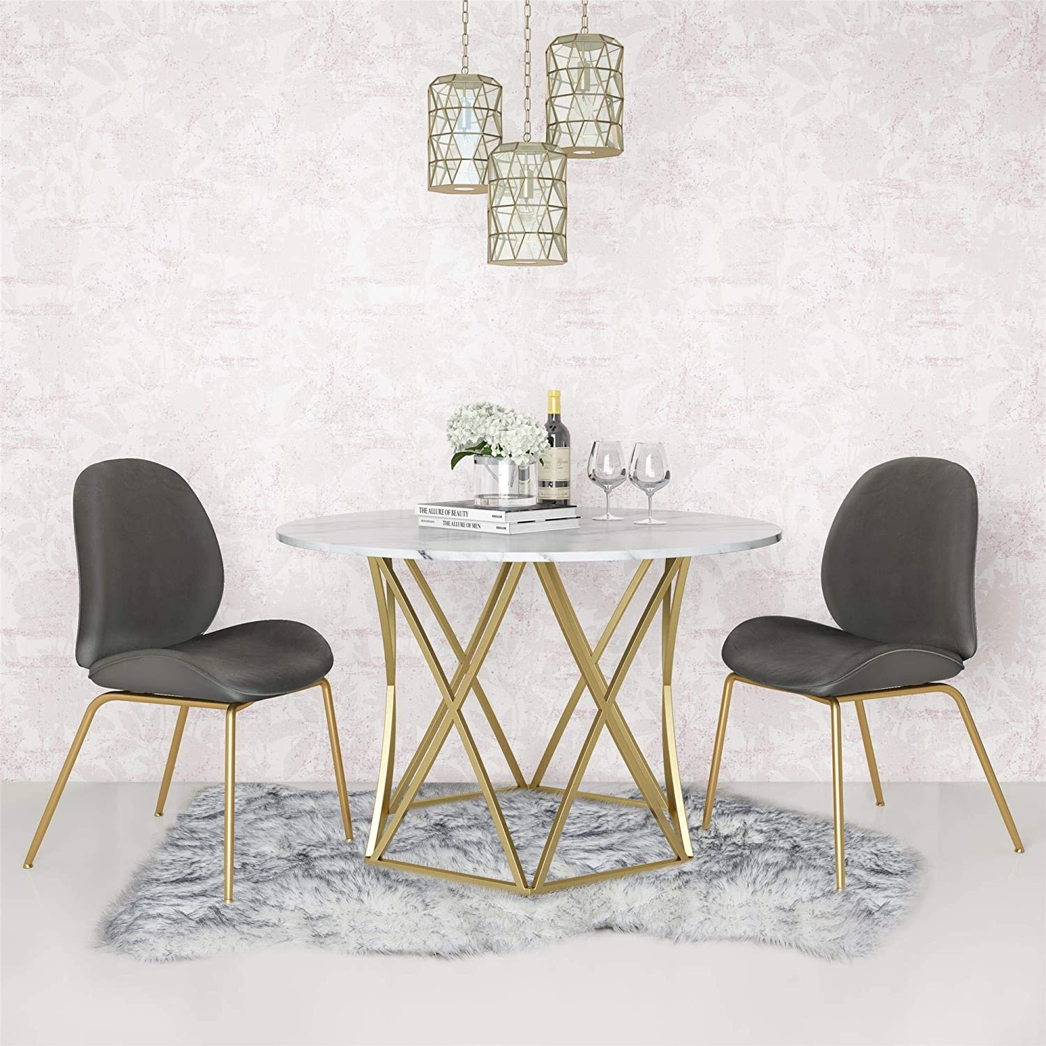 Cosmoliving By Cosmopolitan Elle Dining Table Faux Marble Tables