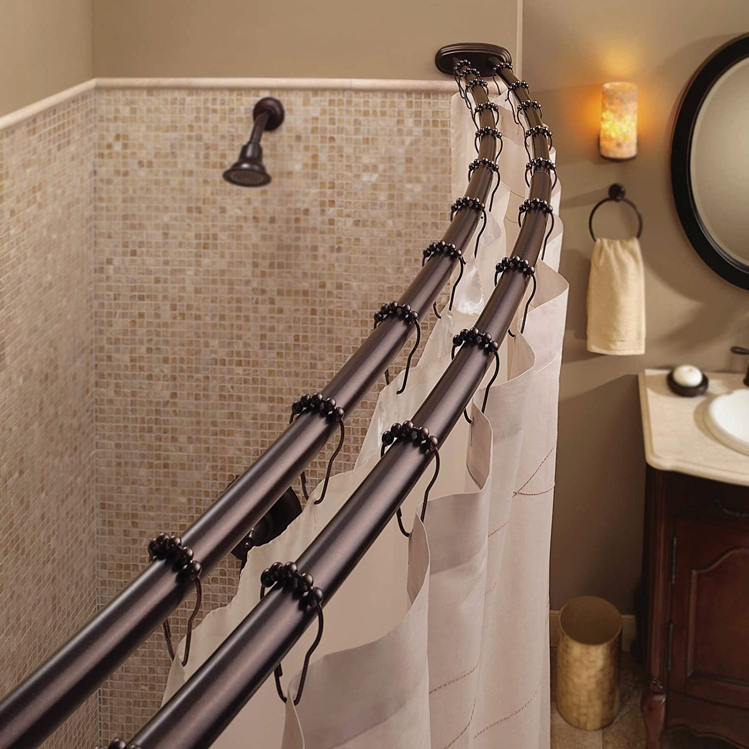 Curved Shower Curtain Adjustable Rod Bath Tub Accessory Oil Rubbed Bronze Home