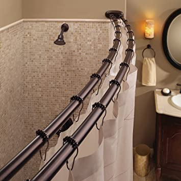 Bennington Adjustable Double Curved Shower Curtain Rod, Oil Rubbed Bronze