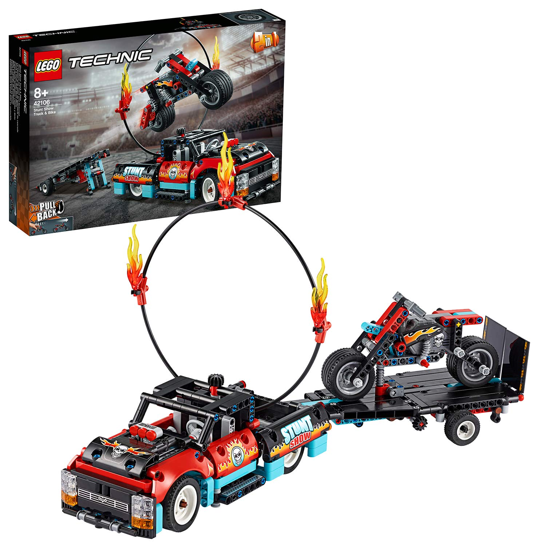 LEGO42106TechnicStuntShowTruck&BikeToysSet,2in1ModelwithPull-BackMotorandTrailer