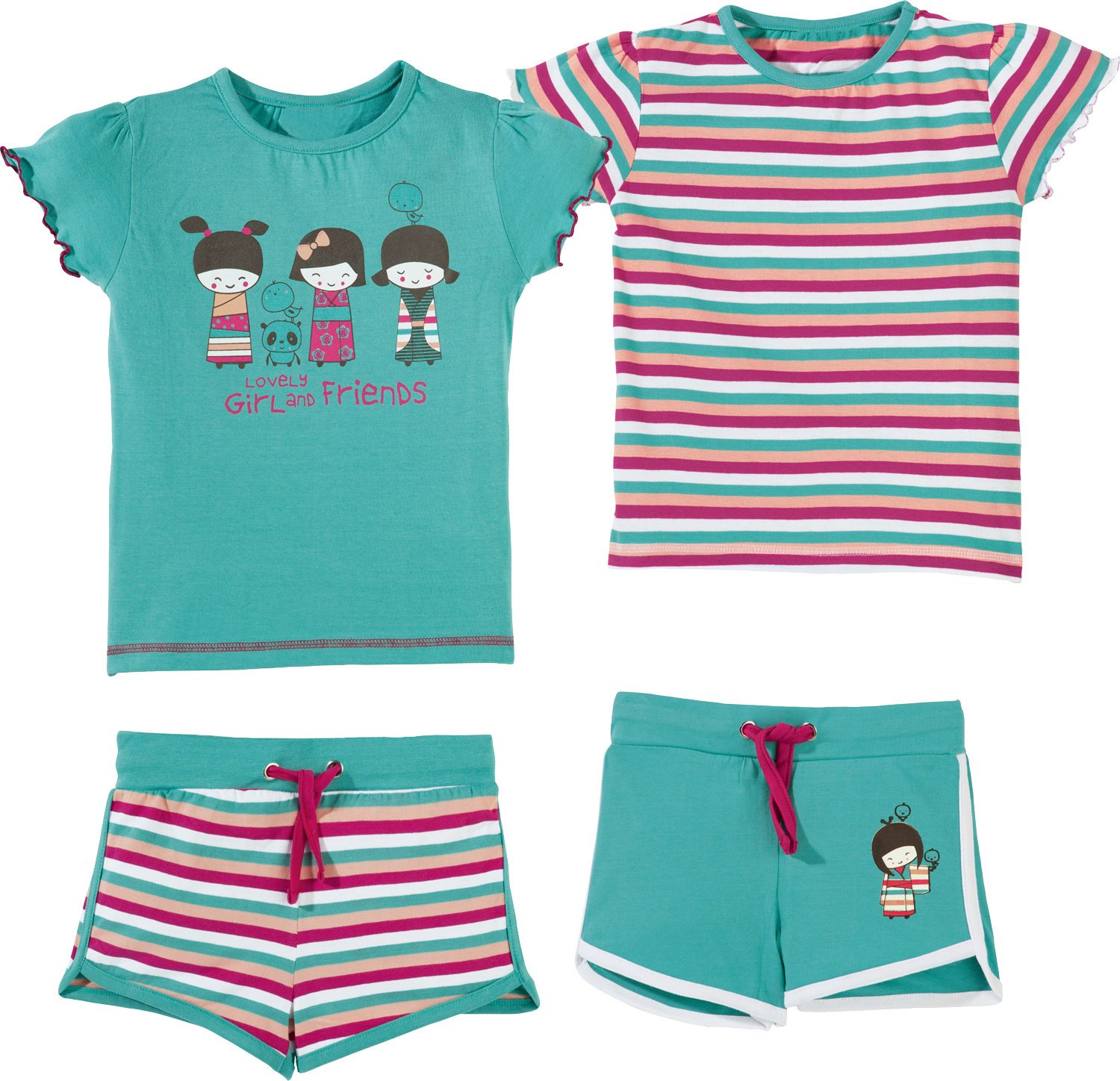 Kinderbutt Shorty 4-TLG. mit Druckmotiv Single-Jersey