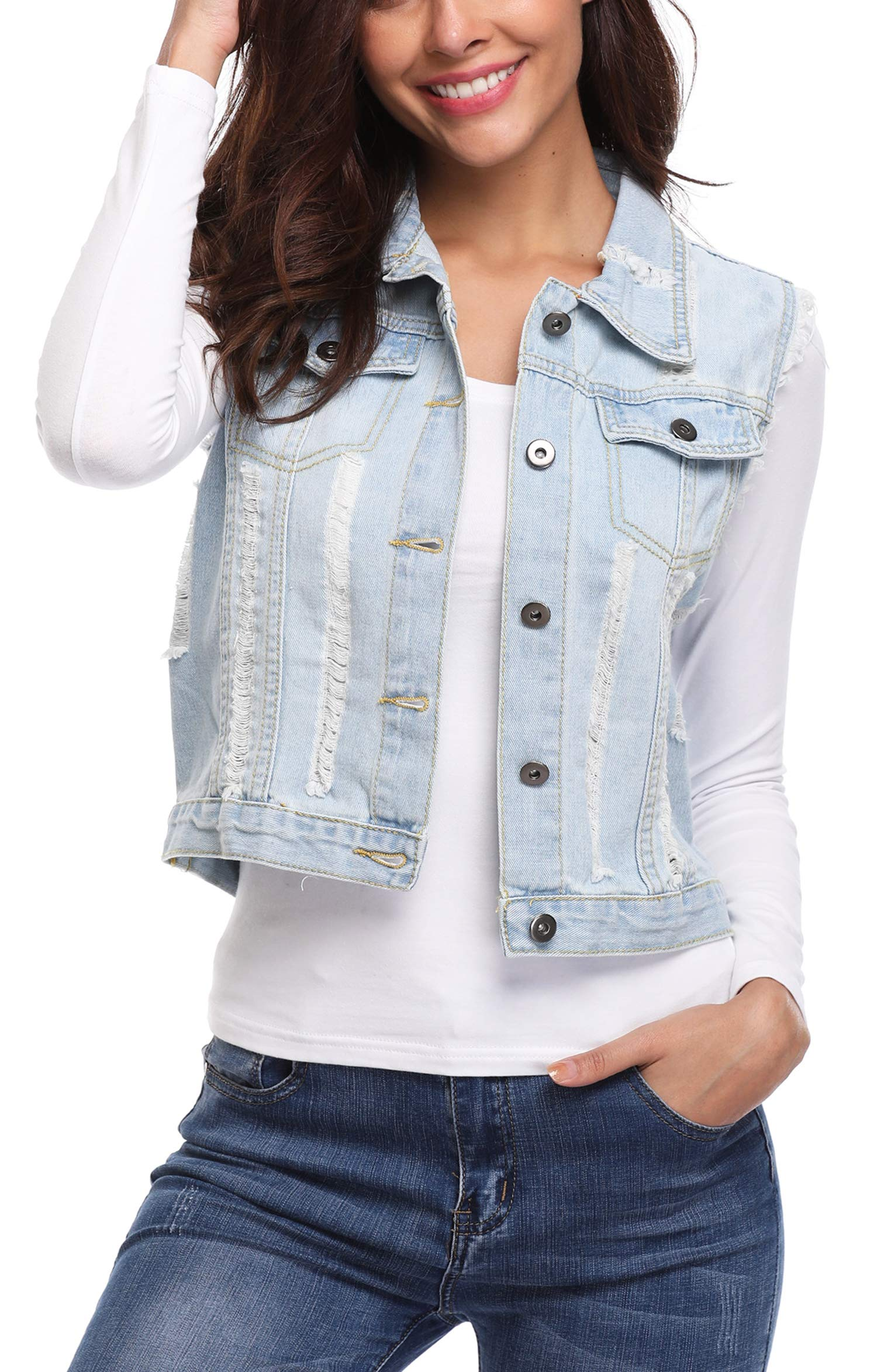 MISS MOLY Women's Sleeveless Denim Jacket Vest Turn Down Collar Buttoned Frayed Washed w 2 Chest Flap Pockets Light Blue XL by MISS MOLY (Image #3)