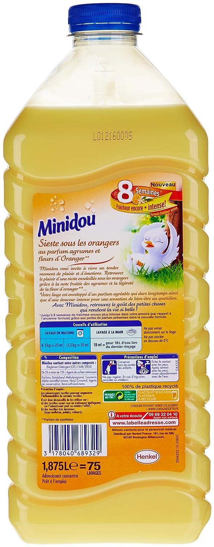 Minidou - Suavizante líquido concentrado (2 unidades) con aroma a azahar y cítricos, envase ecológico de 1,875 L/75 lavados: Amazon.es: Salud y cuidado ...