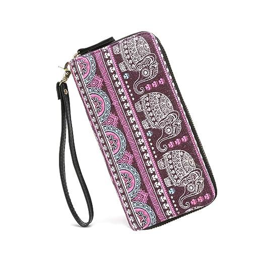 pretty nice bb12b 81542 Elephant Zip Wristlet Wallet for Women Bohemian Organizer Clutch Bag Card  Holder Ladies Phone Purse