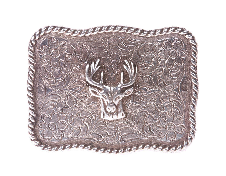 BBBelts Women Rustic Silver Floral Engravigs Deer Head Inlay Rectangular Buckle