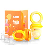NatureBond Baby Food Feeder/Fruit Feeder Pacifier (2 Pack) - Infant Teething Toy Teether in Appetite Stimulating Colors | Includes 6 PCs All Sizes Silicone Sacs(Sunshine Orange and Lemonade Yellow)