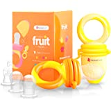 NatureBond Baby Food Feeder/Fruit Feeder Pacifier (2 Pack) - Infant Teething Toy Teether in Appetite Stimulating Colors | Bonus Includes Silicone Sacs (Sunshine Orange & Lemonade Yellow)