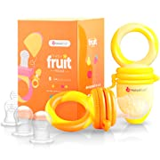 NatureBond Baby Food Feeder/Fruit Feeder Pacifier (2 Pack) - Infant Teething Toy Teether in Appetite Stimulating Colors | Bonus Includes All Sizes Silicone Sacs (Sunshine Orange & Lemonade Yellow)