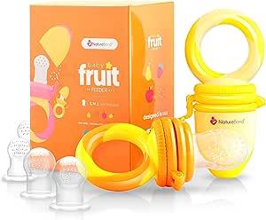 NatureBond Baby Food Feeder/Fruit Feeder Pacifier (2 Pack) - Infant Teething Toy Teether in Appetite Stimulating Colors | Bonus Includes Silicone Sacs (Sunshine Orange & Lemonade Yellow)