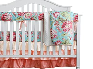 Boho Chic Coral Floral Ruffle Baby Minky Blanket Watercolor, Peach Floral Nursery Crib Skirt Set Baby Girl Crib Bedding (Aqua)