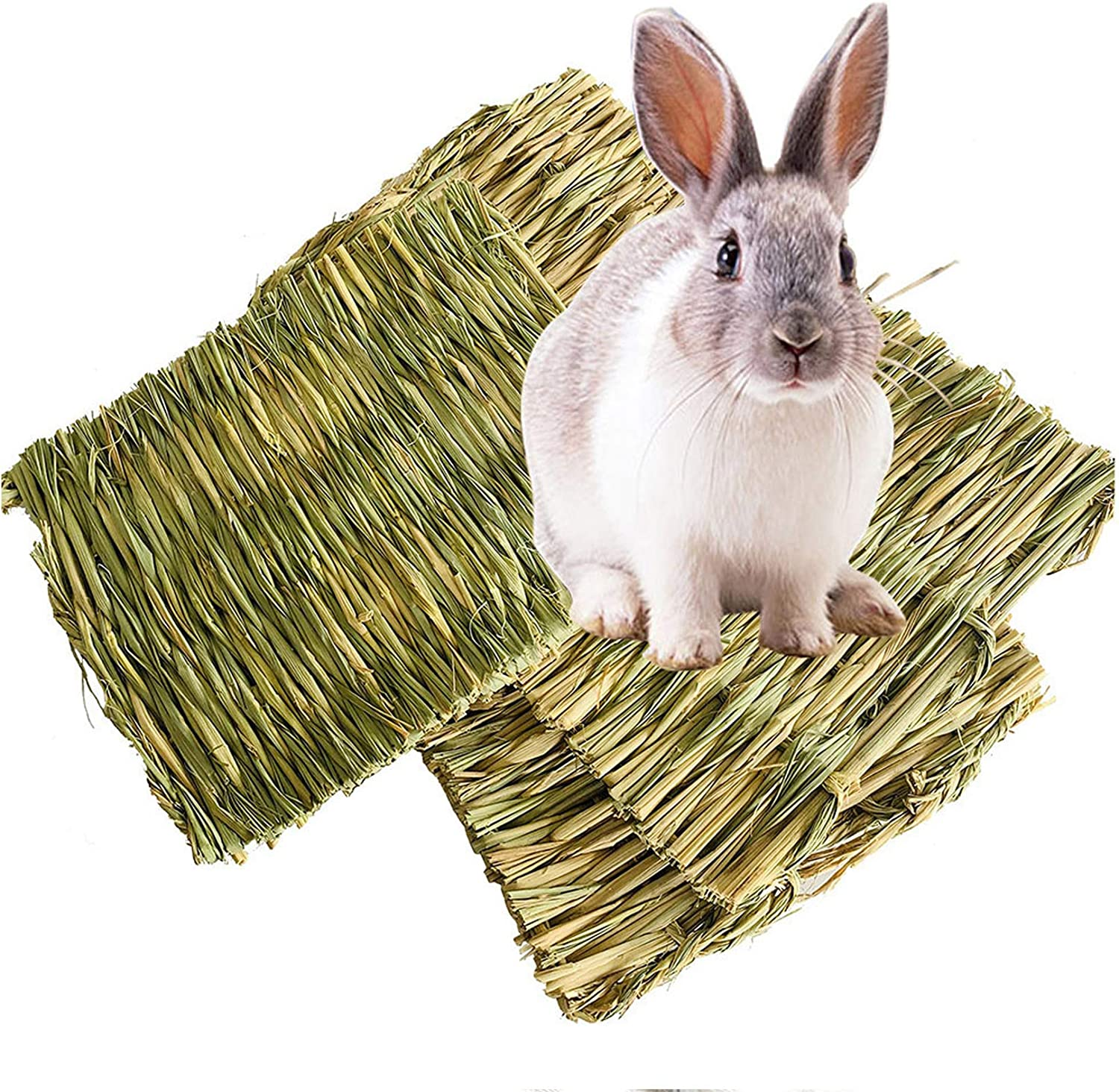 Hamiledyi Rabbit Bunny Grass Mat,3 Pack Hamster Mat Natural Straw Woven Bed Mat Bunny Bedding Nest Chew Toy for Small Animal Guinea Pig Parrot Rat