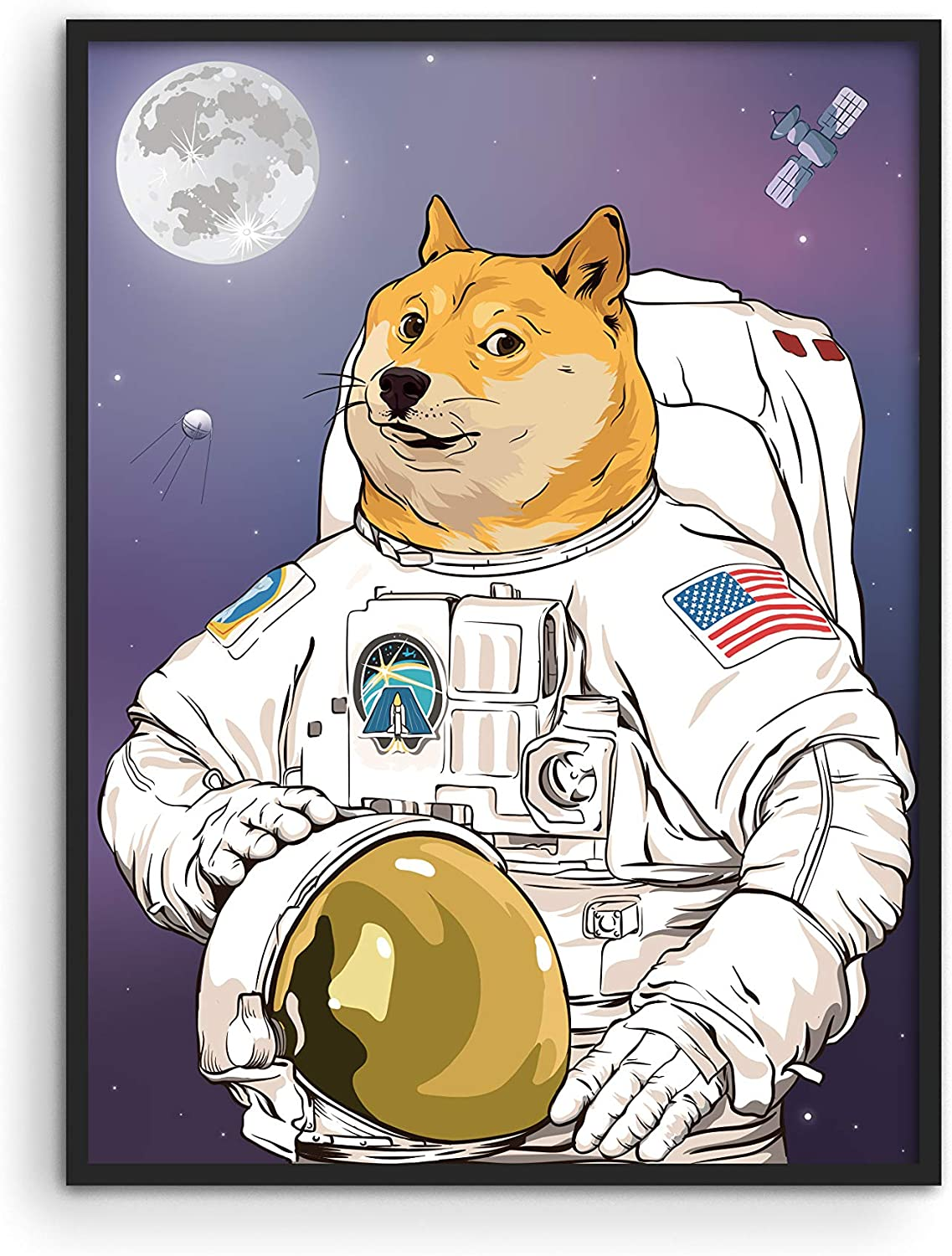 "AstroDoge Funny Poster Dorm Decor - By Haus and Hues | Funny Doge Meme Poster for College Room Decor | Cool Posters and Funny Meme Posters for Teens | Unframed, 12"" x 16"""
