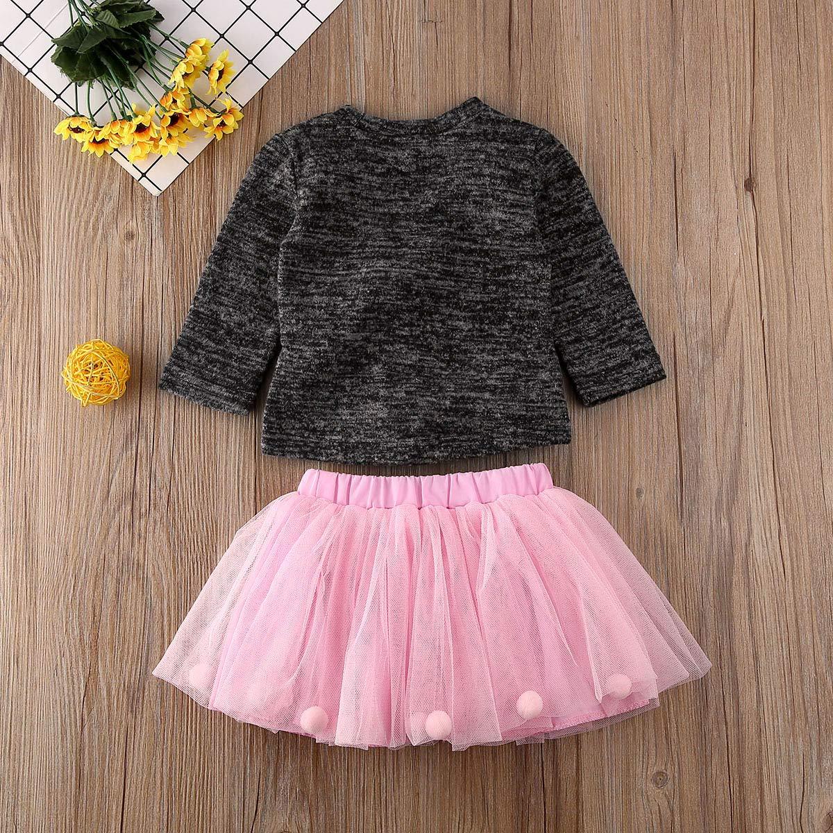 Conjunto de Vestido de tut/ú y Falda de Tul para reci/én Nacido Hnyenmcko Manga Larga con pomp/ón