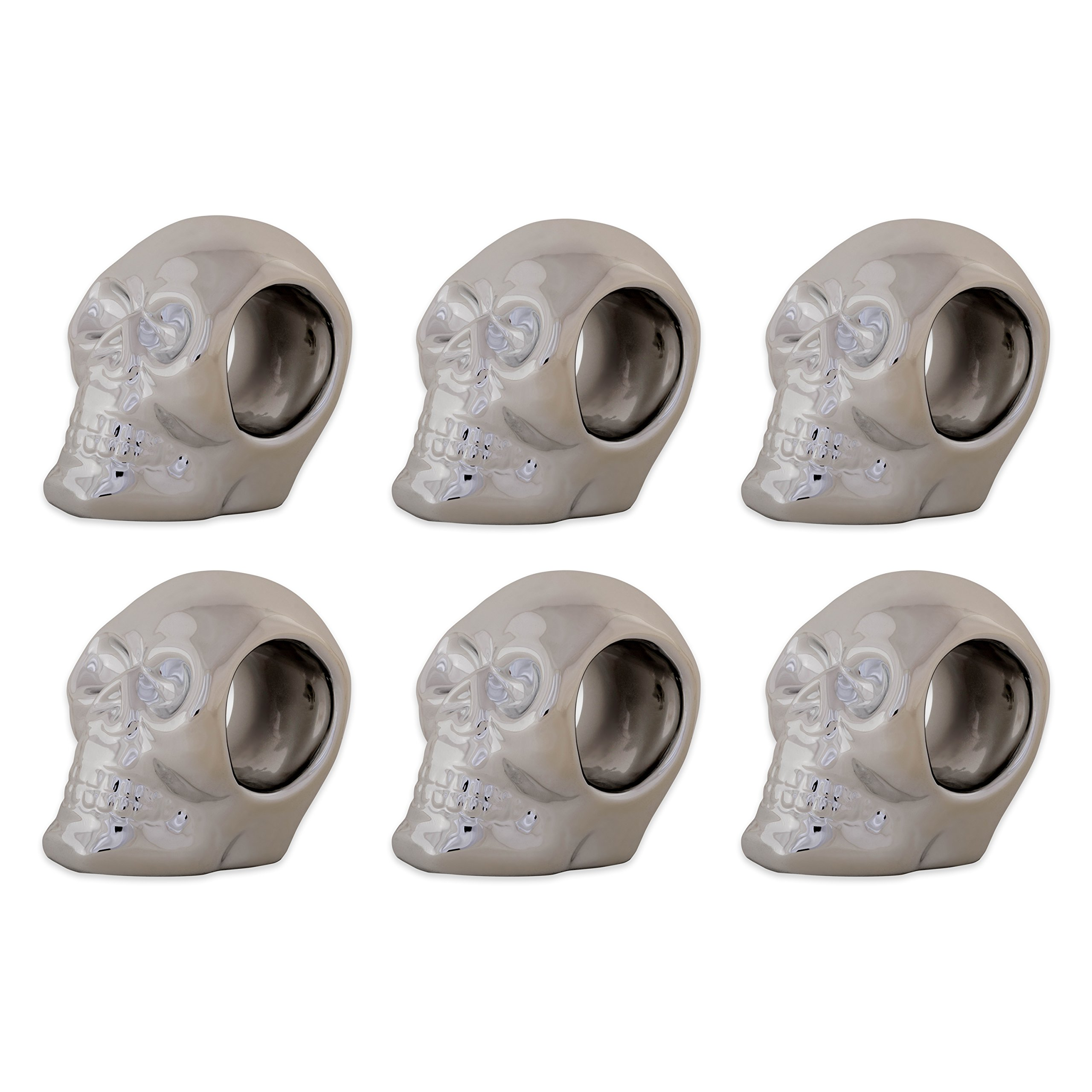 DII CAMZ10887 Thanksgiving or Fall Napkin Rings, Set of 6, Halloween Silver Skull, 6 Pack