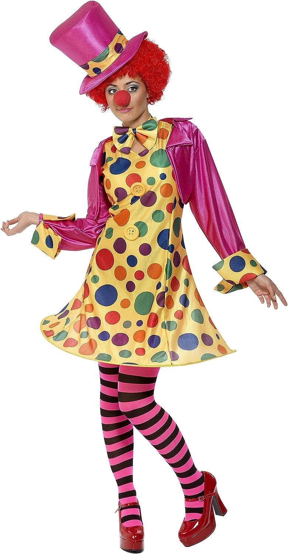 Smiffy's Smiffys-32882M Miffy Disfraz de payasa, en Forma de aro Vestido, Camisa, corbatín, Pantimedias a Rayas, Sombrero, Multicolor, M-EU Tamaño 40-42 32882M