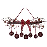 Rustic Twig and Berry Welcome Sign with Rusty Stars and Bells
