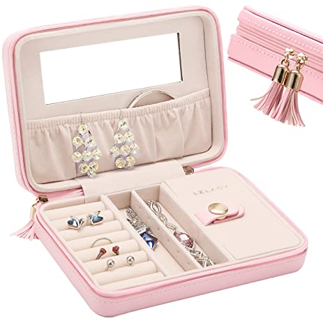 Amazoncom LELADY Small Jewelry Box Portable Travel Jewelry Case