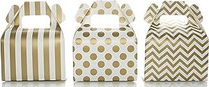 Gold Candy Favor Box Set (36 Pack) - Striped, Chevron & Polka Dot Party Favor Treat Boxes