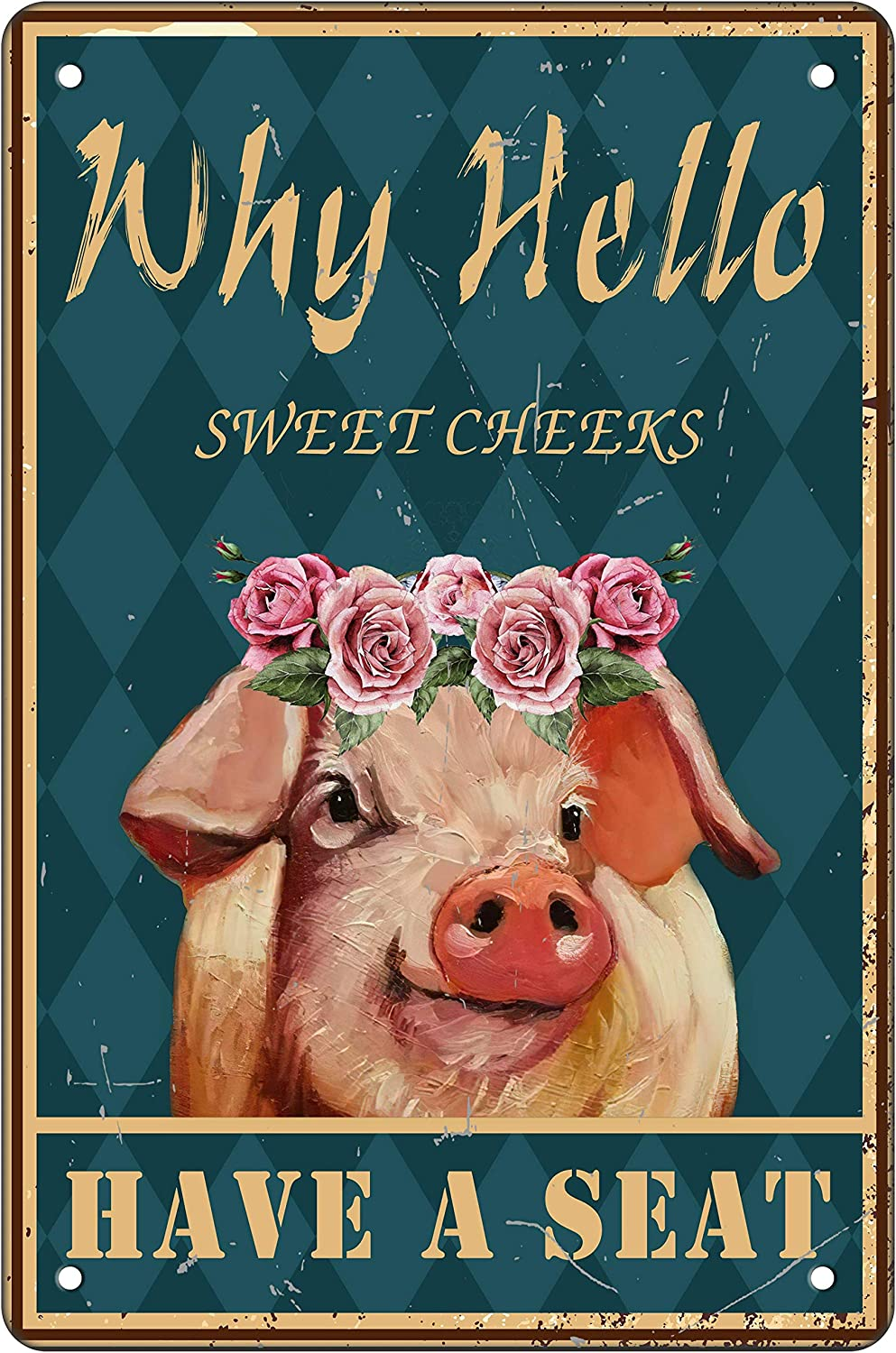 Funny Bathroom Metal Tin Sign Wall Decor Vintage Hello Sweet Cheeks PigTin Sign for Office Home Classroom Bathroom Decor Gifts Best Farmhouse Decor Gift Ideas for Friends 8x12 Inch