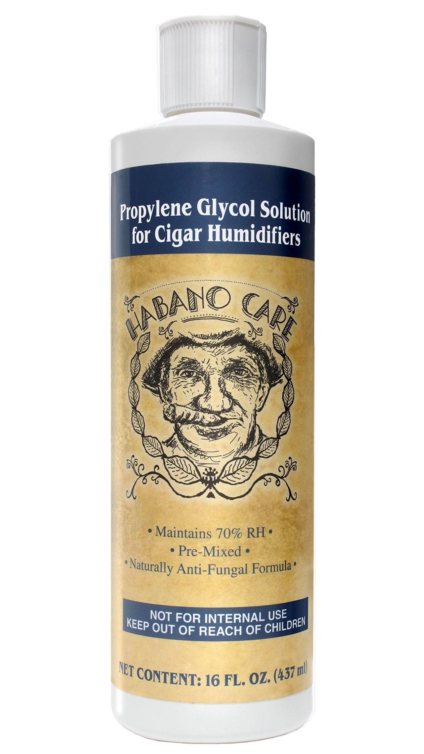 Habano Care - Cigar Humidor Solution 16 oz Cigars Humidifier Humidification Pre-Mixed 50/50 Propylene Glycol