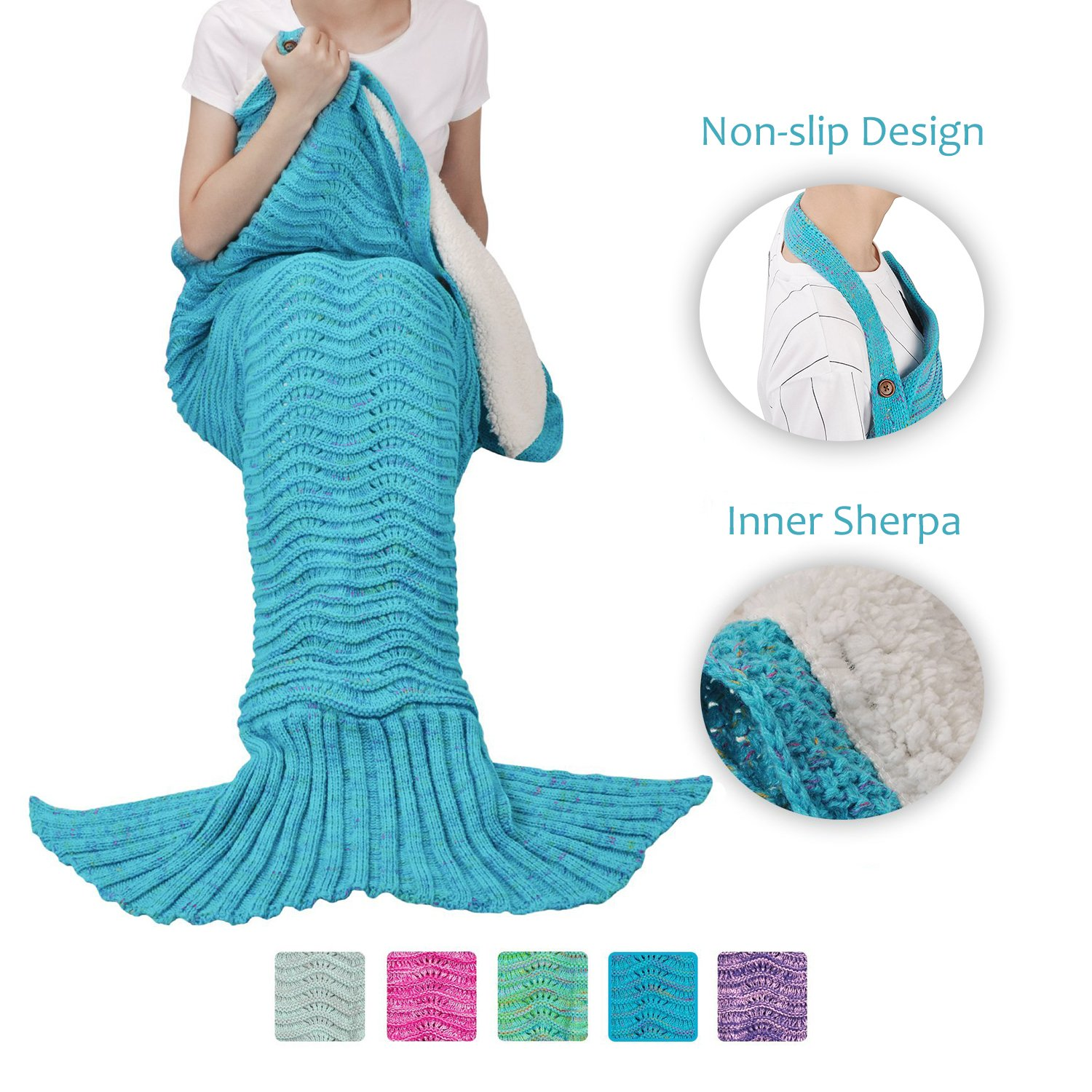 Adults Mermaid Tail Blanket Sherpa for Teens Girls Womens, Super Warm Crochet Knitted Anti-slip Mermaid Blanket Wave Pattern | Gift Package Included, Blue