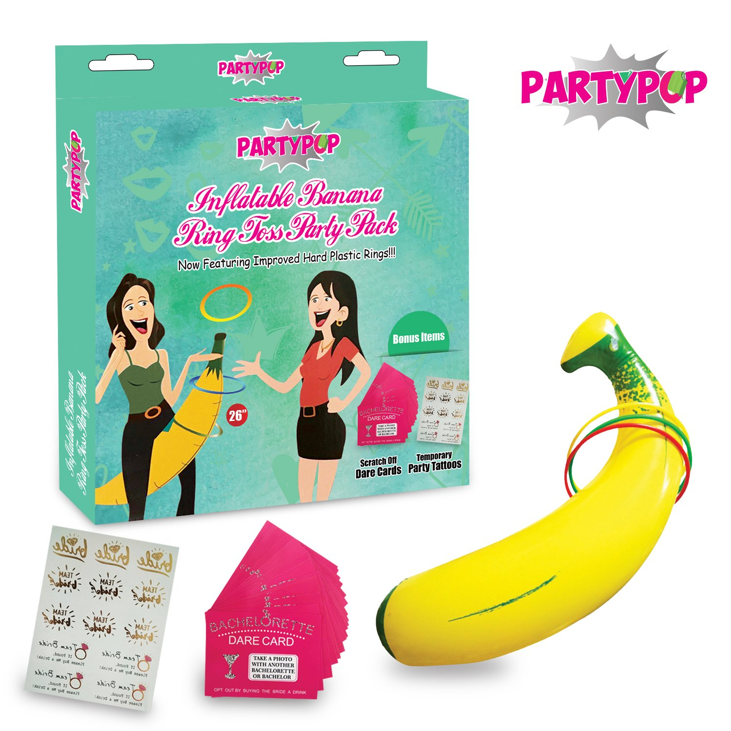 "Bachelorette Party Game Bundle ""Banana Ring Toss"" Funny, Hilarious, and Naughty Fun for Brides, Bridesmaids 
