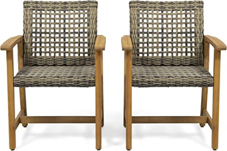 Amazon Com Clementine Outdoor Acacia Wood And Wicker Dining Chair Set Of 2 Natural And Gray Kitchen Dining