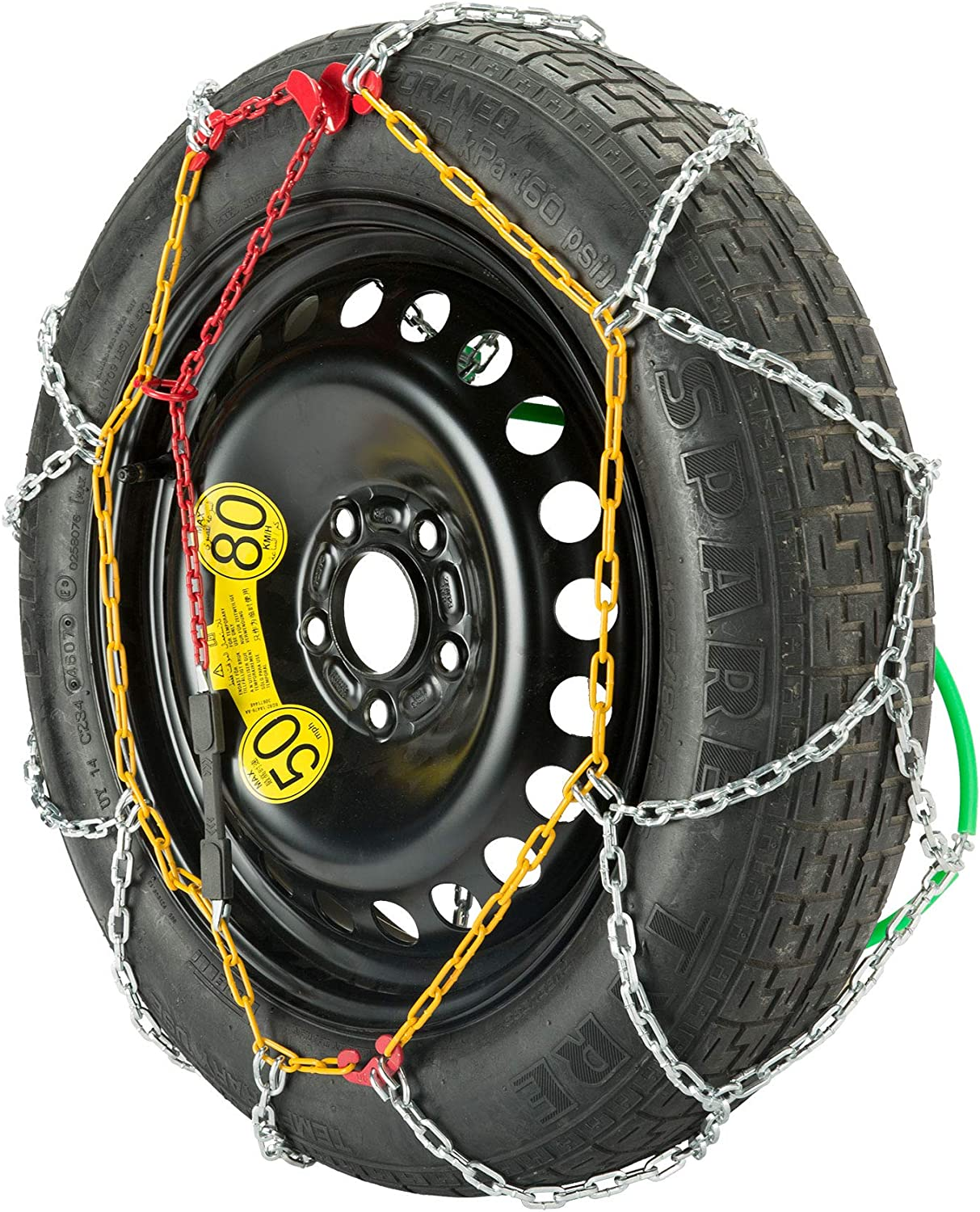 KN90 195-235mm Sfeomi 2 Sets 12mm Snow Tire Chains Emergency Mud Anti-Skid Steel Chain Snow Tire Security Chains for Passenger Vehicle Suitable for 195-235mm