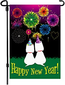 W&X New Years Flag,Happy New Year Garden Flag 12.5x18 Inch Double Sided Printing 2 Layer Burlap Valentine Flags for New Year Decoration