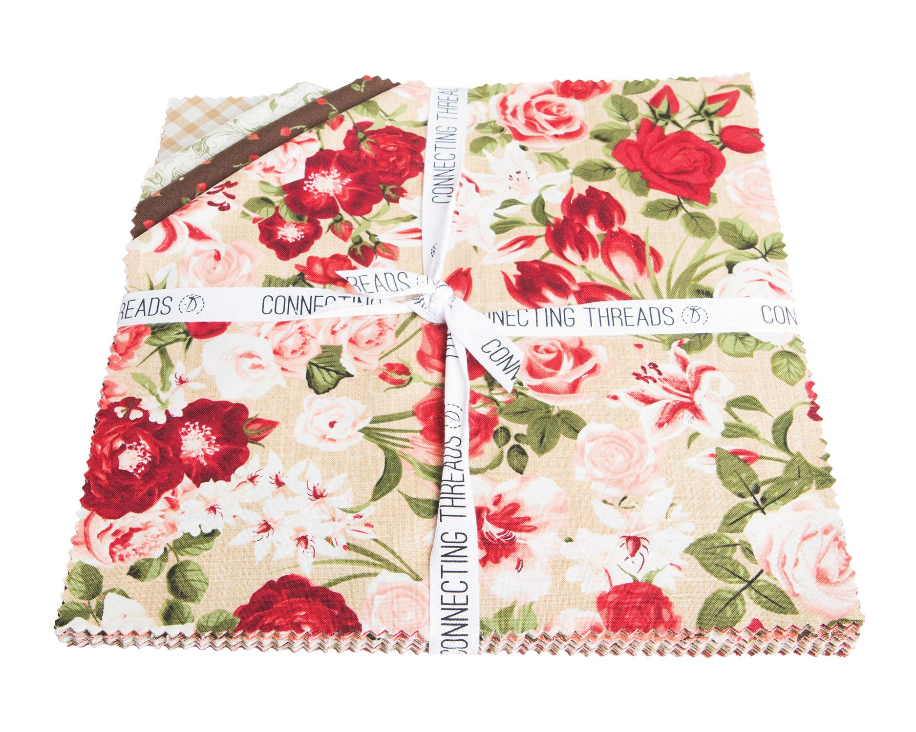 Connecting Threads Print Collection Precut Quilting Fabric Bundle 10'' Squares (Heirloom Bouquet) by Connecting Threads