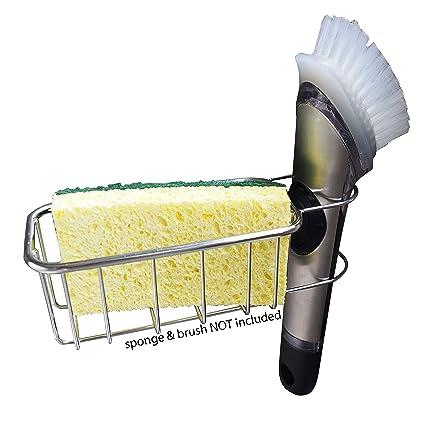 Kitchen Sink Sponge Holder.Amazon Com 2 In 1 No Fall Adhesive Sponge Holder In Sink Brush