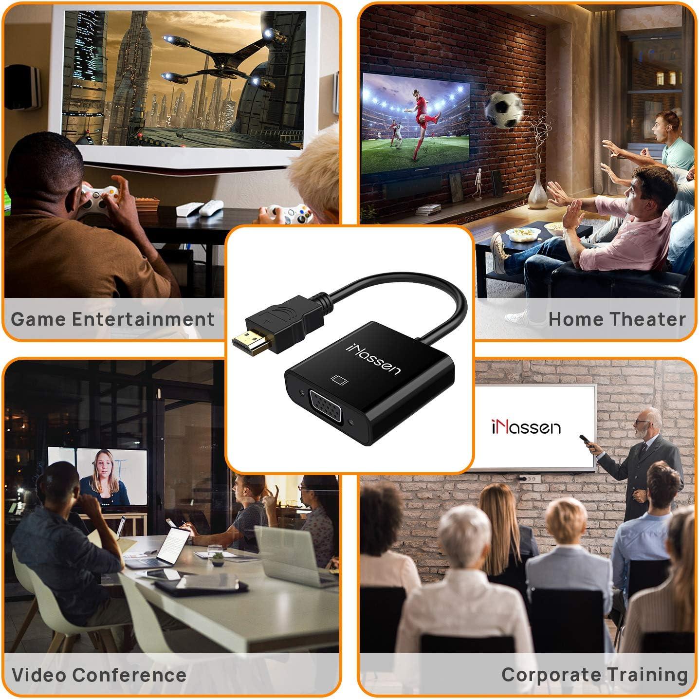 Chromebook Raspberry Pi MacBook Apple TV Usw Schwarz iNassen HDMI auf VGA Adapter 1080P HDTV Konverterkabel f/ür PC Laptop