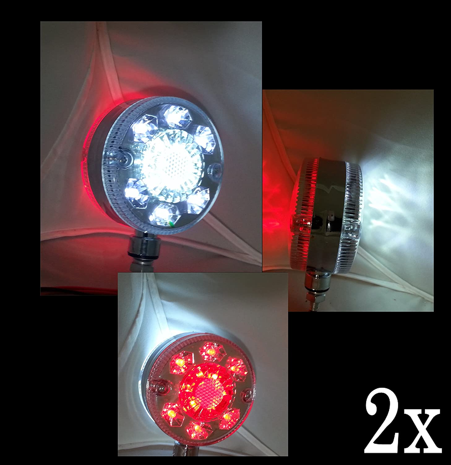 PAIR 12V 24V 24 LED CHROME RED WHITE SIDE MARKER OUTLINE LIGHTS TRAILER TRUCK LORRY