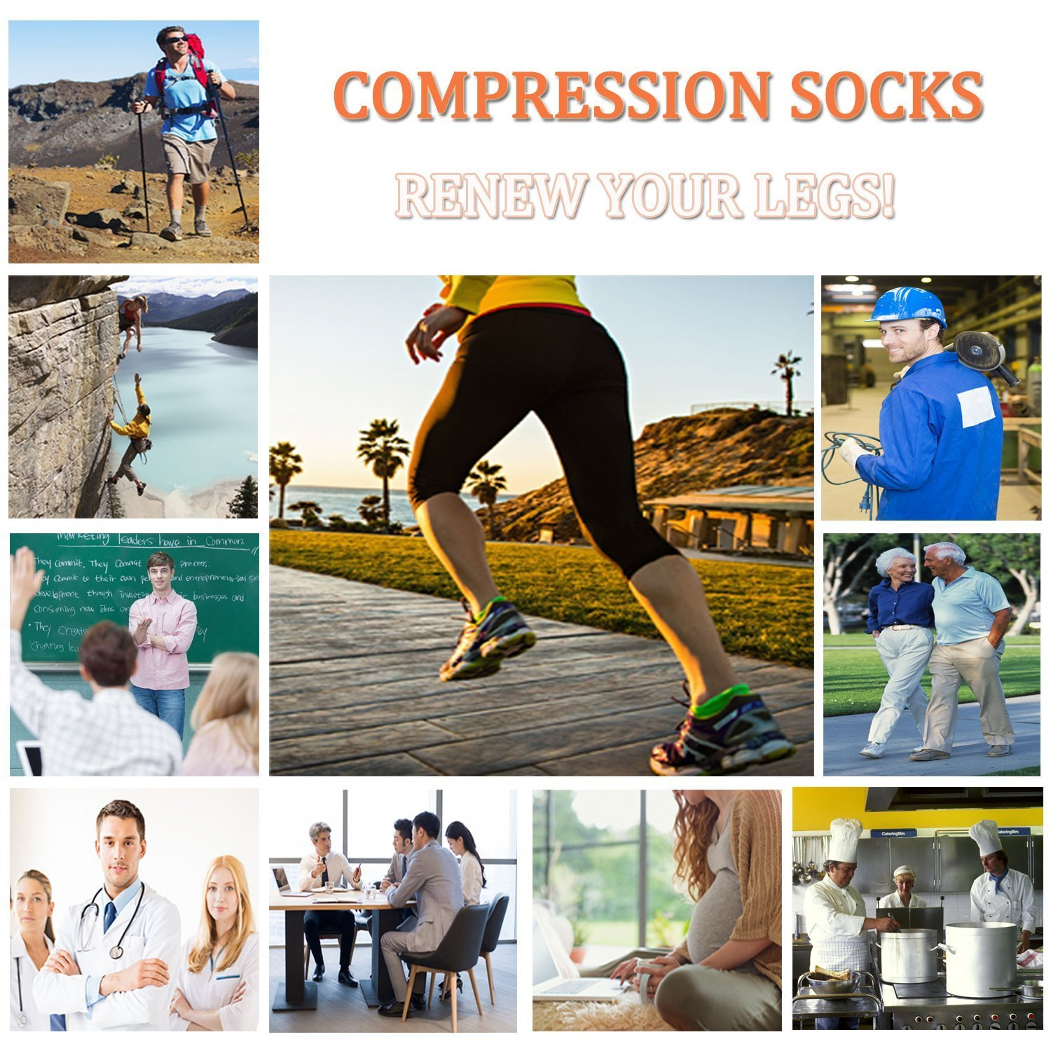 Plantar Fasciitis Support Compression Socks Women Men -3 Pairs- Best Running Ankle Athletic Socks(S/M, Assort2) by ACTINPUT (Image #6)