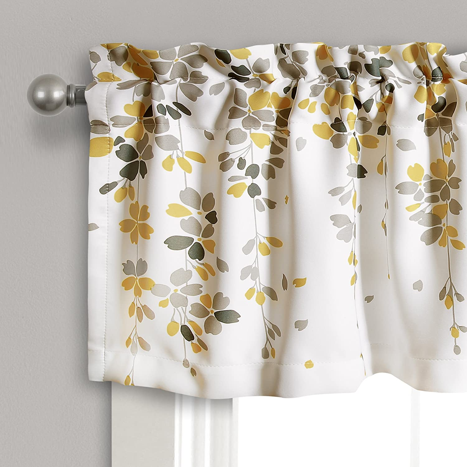 Yellow /& Gray Triangle Home Fashions 16T002773 Lush Decor Weeping Flowers Yellow and Gray Valance Curtain for Windows 18 x 52