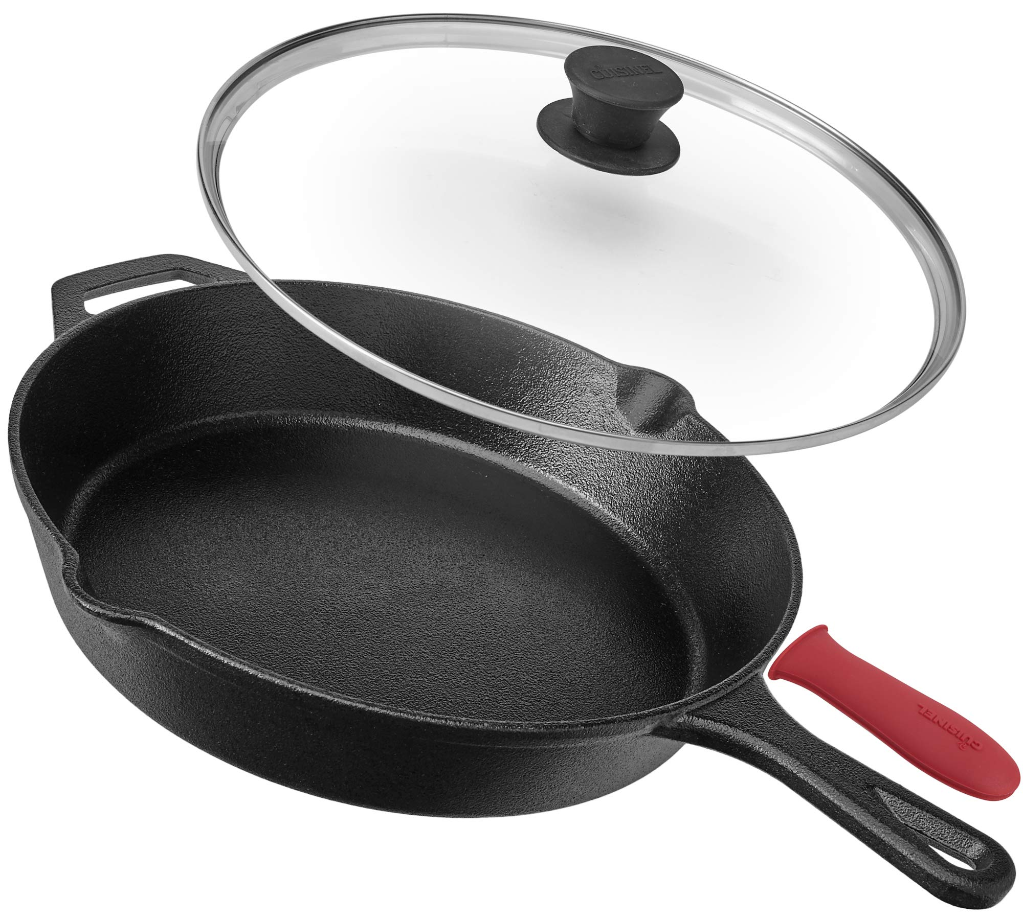 cuisinel Pre-Seasoned Cast Iron Skillet (12-Inch) W/Tempered Glass Lid and Handle, 12 Inch, Black