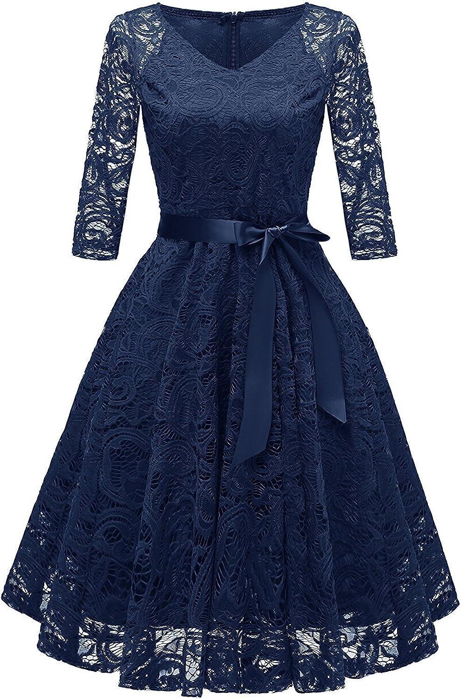 TALLA L. RAISEVERN Vestido de Encaje de Mujer Una línea 3/4 Fiesta de Noche de Manga Larga Vestido de Dama de Honor de la Boda Cóctel Ocasión Vestidos de Midi de oscilación con Cinta de la Cinta Navy Blue
