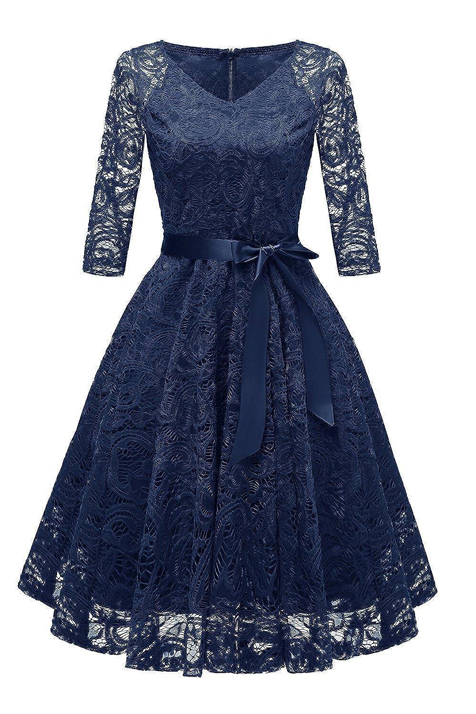 TALLA XL. RAISEVERN Vestido de Encaje de Mujer Una línea 3/4 Fiesta de Noche de Manga Larga Vestido de Dama de Honor de la Boda Cóctel Ocasión Vestidos de Midi de oscilación con Cinta de la Cinta Navy Blue XL