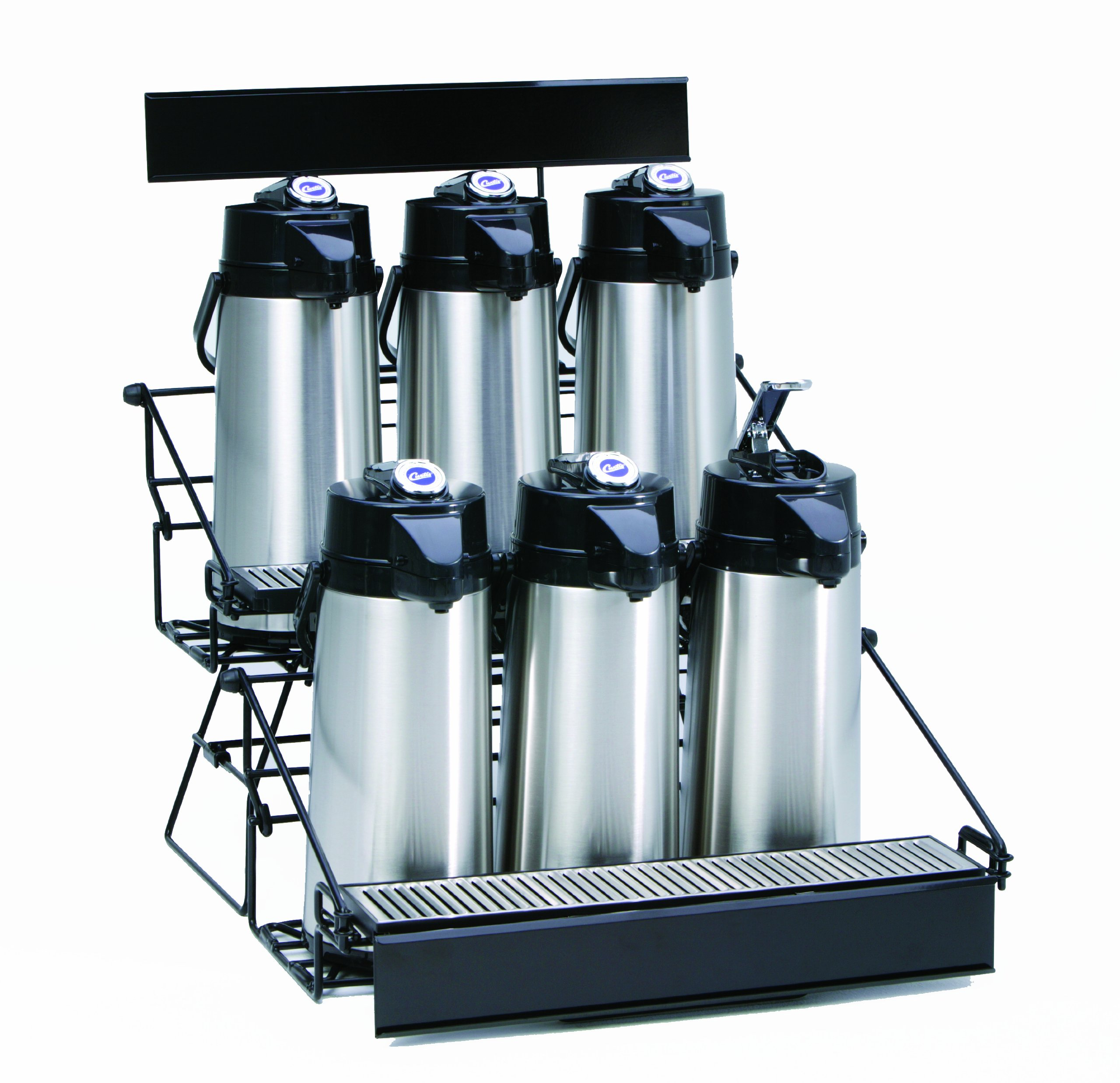 Wilbur Curtis  6 Position Wire Airpot Rack - Compact Design with Integral Drip Tray - WR6B0000 (Each)