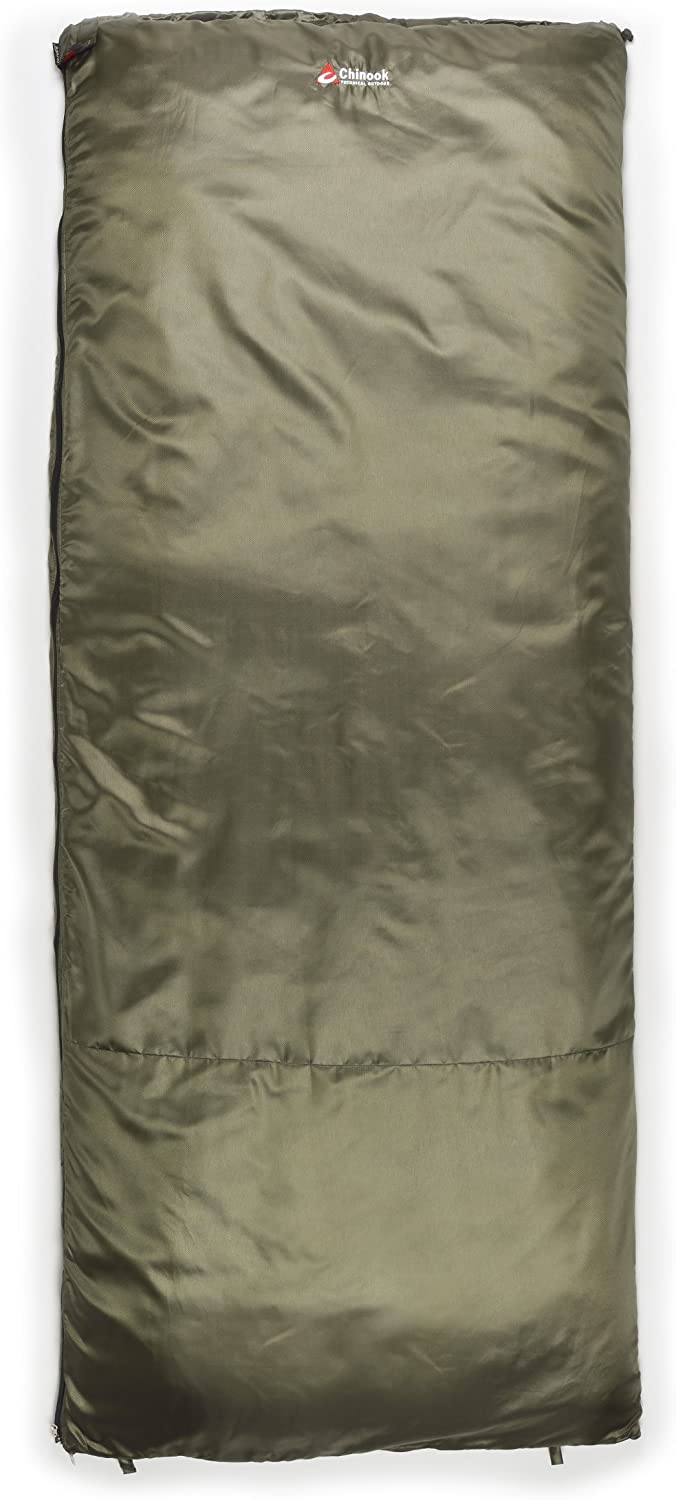Chinook ThermoPalm Rectangular 50-Degree Synthetic Sleeping Bag, Green