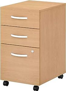 Bush Business Furniture Studio C 3 Drawer Mobile File Cabinet, Natural Maple