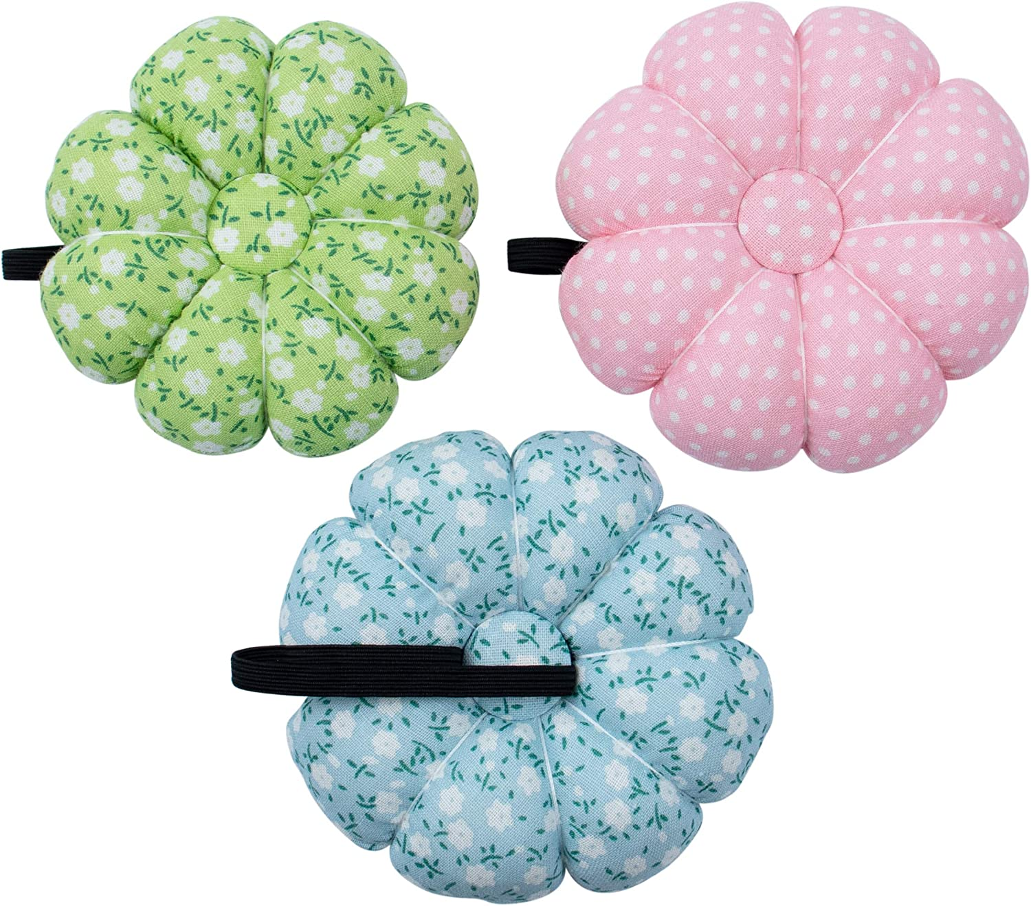 AUEAR 3 Pack Wearable Wrist Pumpkin Needle Insert Pin Cushion Flower Pattern Design Pin Cushions Needle Holder for DIY Sewing Craft Needlework