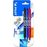 Pilot Frixion Clicker Retractable Erasable Rollerball, 0.7 mm Tip - Black/Blue/Red, Pack of 3