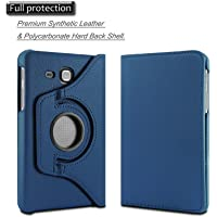 "TEZK® for Samsung Galaxy Tab J Max / Tab A 7.0"" 7-Inch Tablet SM-T280 / SM-T285 PU Leather Rotating Folio Flip Cover case (Navy Blue)"