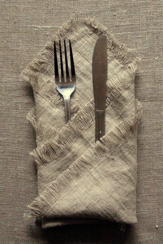 Natural Linen Napkin Dinner Napkins Easter Table Napkins Set of 8 Serviette Gray