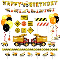 Decorlife Construction Birthday Decorations, Truck Party Decor for Boys, Including Happy Birthday Banner, Balloons…