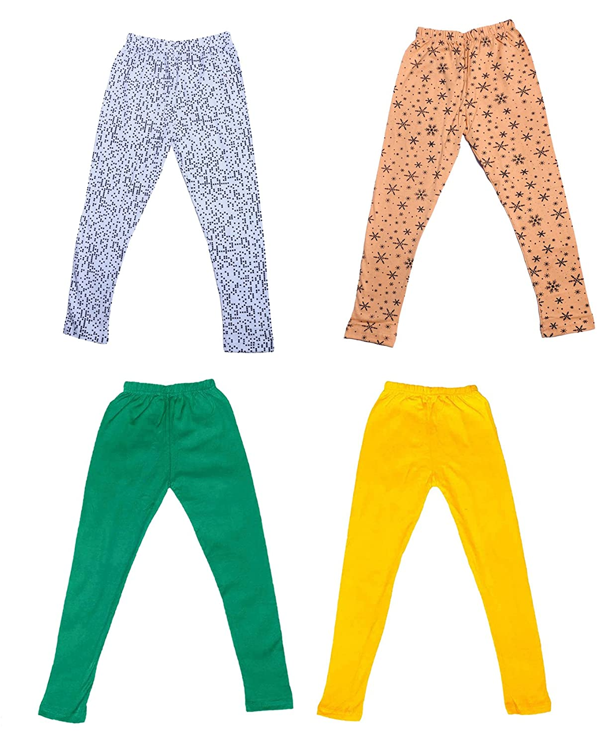 /_Multicolor/_Size-4-5 Years/_71406071921-IW-P4-26 Pack Of 4 and 2 Cotton Printed Legging Pants Indistar Girls 2 Cotton Solid Legging Pants